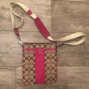 Coach crossbody bag brown/pink